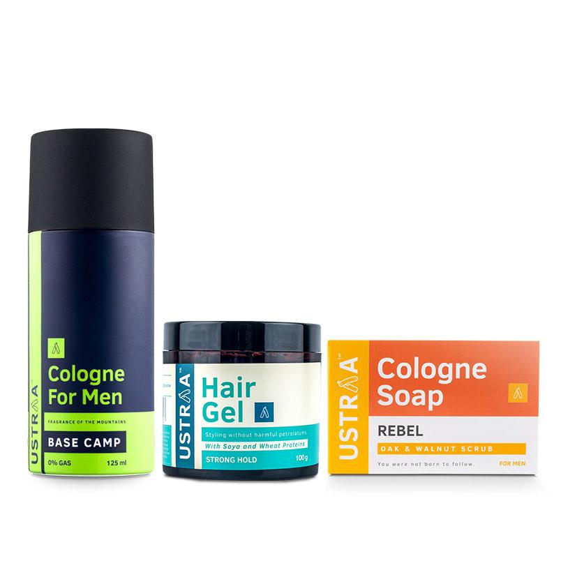Cologne Spray - Base Camp, Hair Gel - Strong Hold & Cologne Soap - Rebel
